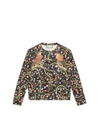 Sweat-shirt à fleurs noir Gucci