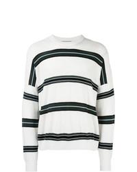 Sweat-shirt à rayures horizontales blanc AMI Alexandre Mattiussi