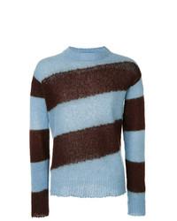 Sweat-shirt à rayures horizontales bleu clair Marni