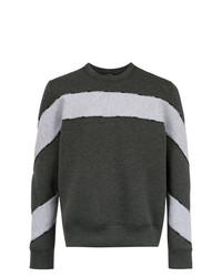 Sweat-shirt à rayures horizontales gris foncé À La Garçonne