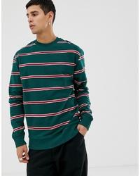 Sweat-shirt à rayures horizontales vert foncé New Look