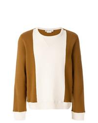 Sweat-shirt blanc et marron Marni