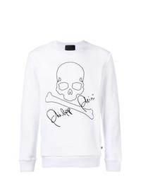 Sweat-shirt brodé blanc et noir Philipp Plein