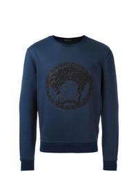 Sweat-shirt brodé bleu marine Versace