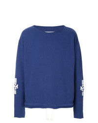 Sweat-shirt brodé bleu Maison Margiela