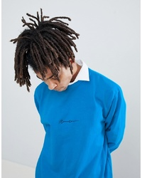 Sweat-shirt brodé bleu Mennace