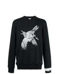 Sweat-shirt brodé noir et blanc Lanvin