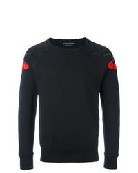Sweat-shirt brodé noir Alexander McQueen