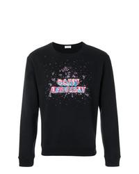 Sweat-shirt brodé noir Saint Laurent