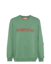 Sweat-shirt brodé vert menthe 032c