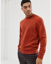 Sweat-shirt en polaire brodé orange Fred Perry