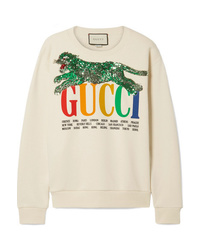 Sweat-shirt imprimé beige Gucci