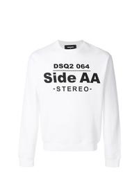 Sweat-shirt imprimé blanc et noir DSQUARED2