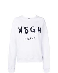 Sweat-shirt imprimé blanc et noir MSGM