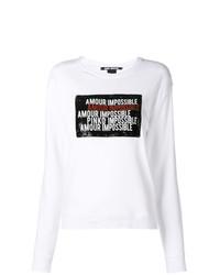 Sweat-shirt imprimé blanc et noir Pinko