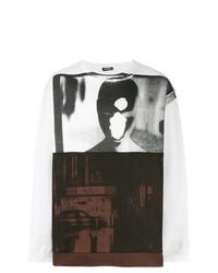 Sweat-shirt imprimé blanc et noir Raf Simons