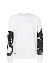 Sweat-shirt imprimé blanc Dirk Bikkembergs