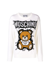 Sweat-shirt imprimé blanc Moschino