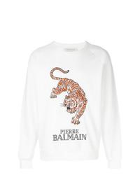 Sweat-shirt imprimé blanc Pierre Balmain