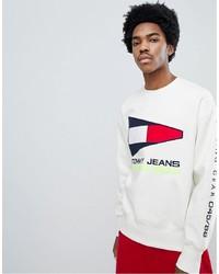 Sweat-shirt imprimé blanc Tommy Jeans
