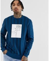 Sweat-shirt imprimé bleu canard ASOS DESIGN
