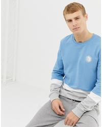 Sweat-shirt imprimé bleu clair Burton Menswear