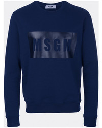 Sweat-shirt imprimé bleu marine