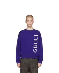 Sweat-shirt imprimé bleu marine Gucci