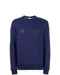 Sweat-shirt imprimé bleu marine Moncler