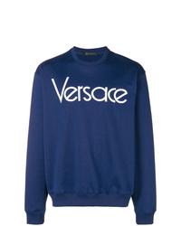 Sweat-shirt imprimé bleu marine Versace