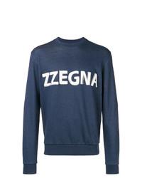 Sweat-shirt imprimé bleu marine Z Zegna