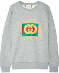 Sweat-shirt imprimé gris