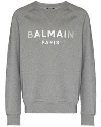 Sweat-shirt imprimé gris Balmain