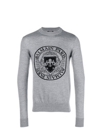 Sweat-shirt imprimé gris Balmain