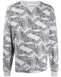 Sweat-shirt imprimé gris Moschino