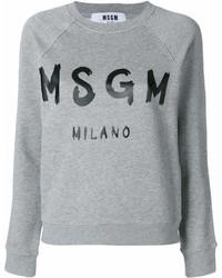 Sweat-shirt imprimé gris MSGM