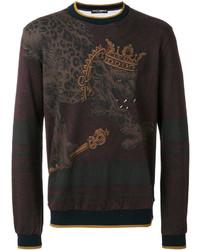 Sweat-shirt imprimé léopard bordeaux Dolce & Gabbana