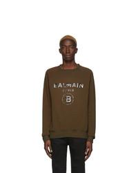 Sweat-shirt imprimé marron foncé Balmain
