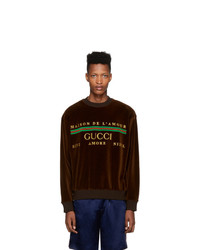 Sweat-shirt imprimé marron foncé Gucci