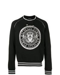 Sweat-shirt imprimé noir et blanc Balmain