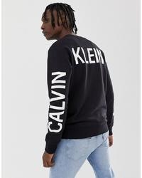 Sweat-shirt imprimé noir et blanc Calvin Klein Jeans