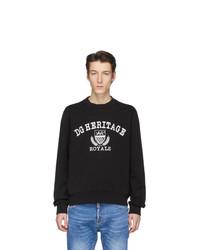 Sweat-shirt imprimé noir et blanc Dolce and Gabbana