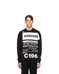 Sweat-shirt imprimé noir et blanc DSQUARED2