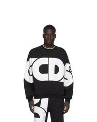 Sweat-shirt imprimé noir et blanc Gcds
