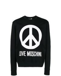 Sweat-shirt imprimé noir et blanc Love Moschino