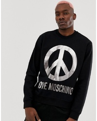 Sweat-shirt imprimé noir et blanc Love Moschino