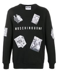 Sweat-shirt imprimé noir et blanc Moschino