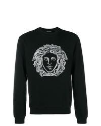 Sweat-shirt imprimé noir et blanc Versace