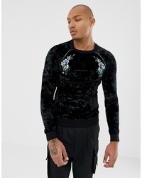 Sweat-shirt imprimé noir ASOS DESIGN
