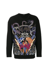 Sweat-shirt imprimé noir Balmain